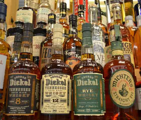 Calandro's top-shelf spirits and whiskey bottles