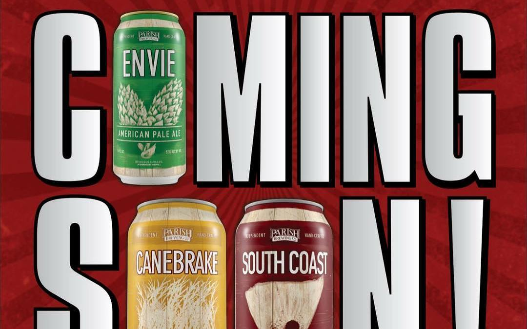 @parishbrewingco Envie, Canebrake, and South Coast CANS will be available at Calandro's in January! Stay…