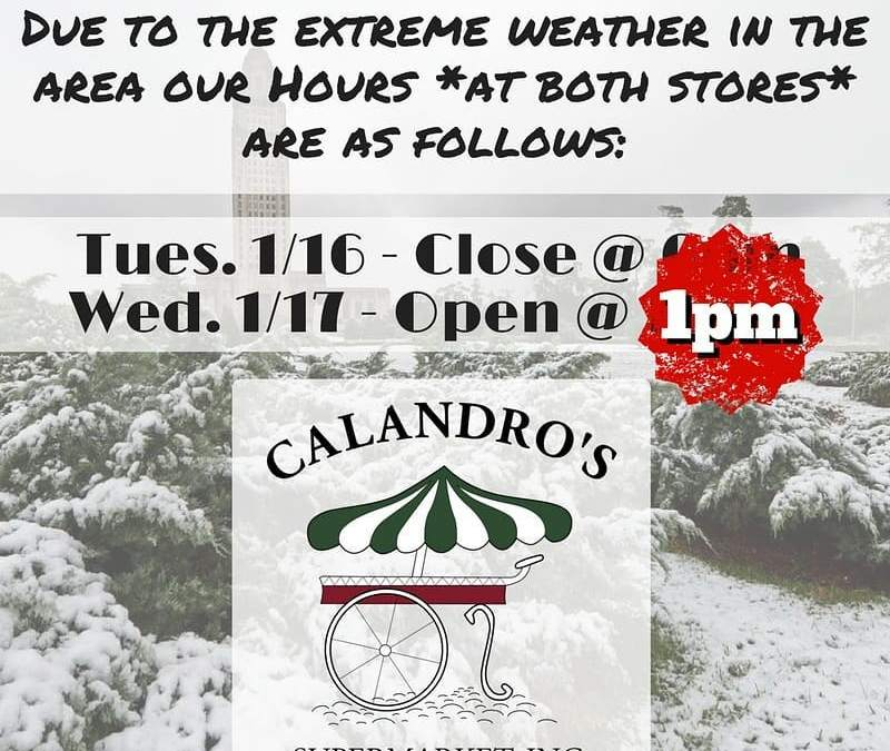 Calandro's Winter Weather & Hours Update #2: We will definitely be open at 1pm at…