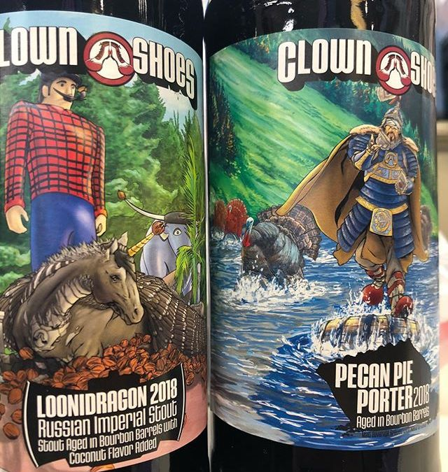 @clownshoesbeer Loonidragon RIS Aged in Bourbon barrels with Coconut and Barrel Aged Pecan Pie Porter…