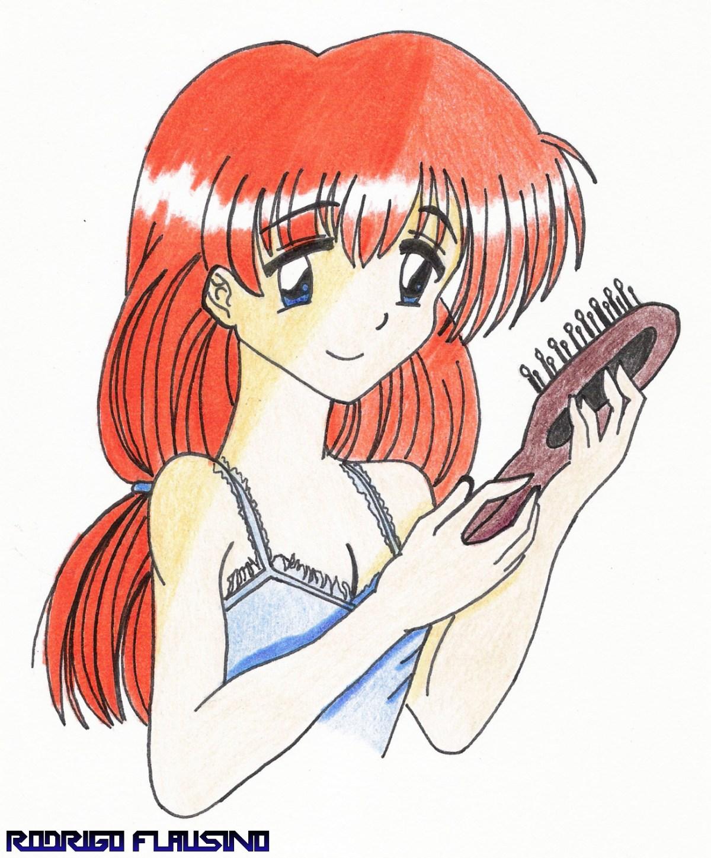 Desenho - Mulher Ruiva com Camisola - Colorido - Desenho 138