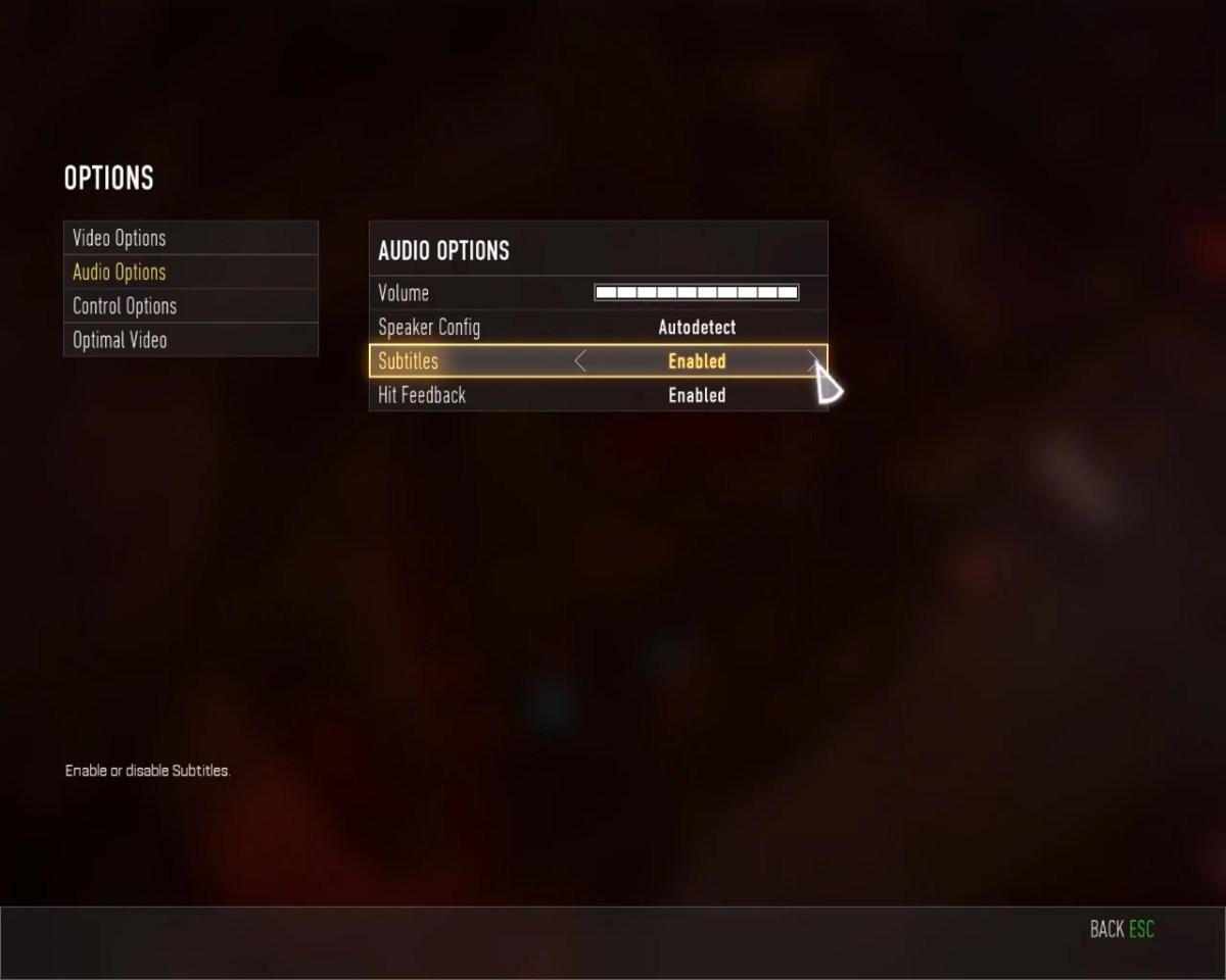 Call of Duty - Advanced Warfare - Imagem do menu mostrando onde altera a opção de legendas na versão para PC