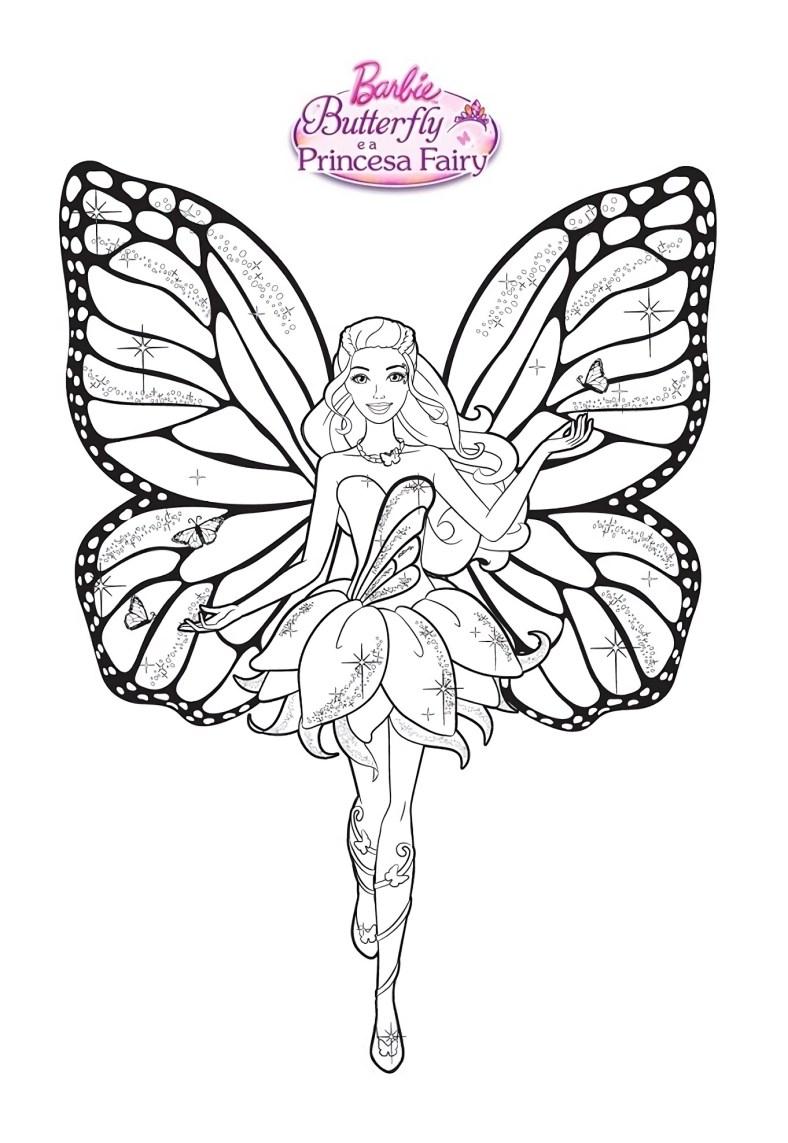 Barbie Fada Dançarina Vestido Lindo - Desenhos pra pintar, colorir, imprimir e preencher - Artes e Lápis de Cor 02