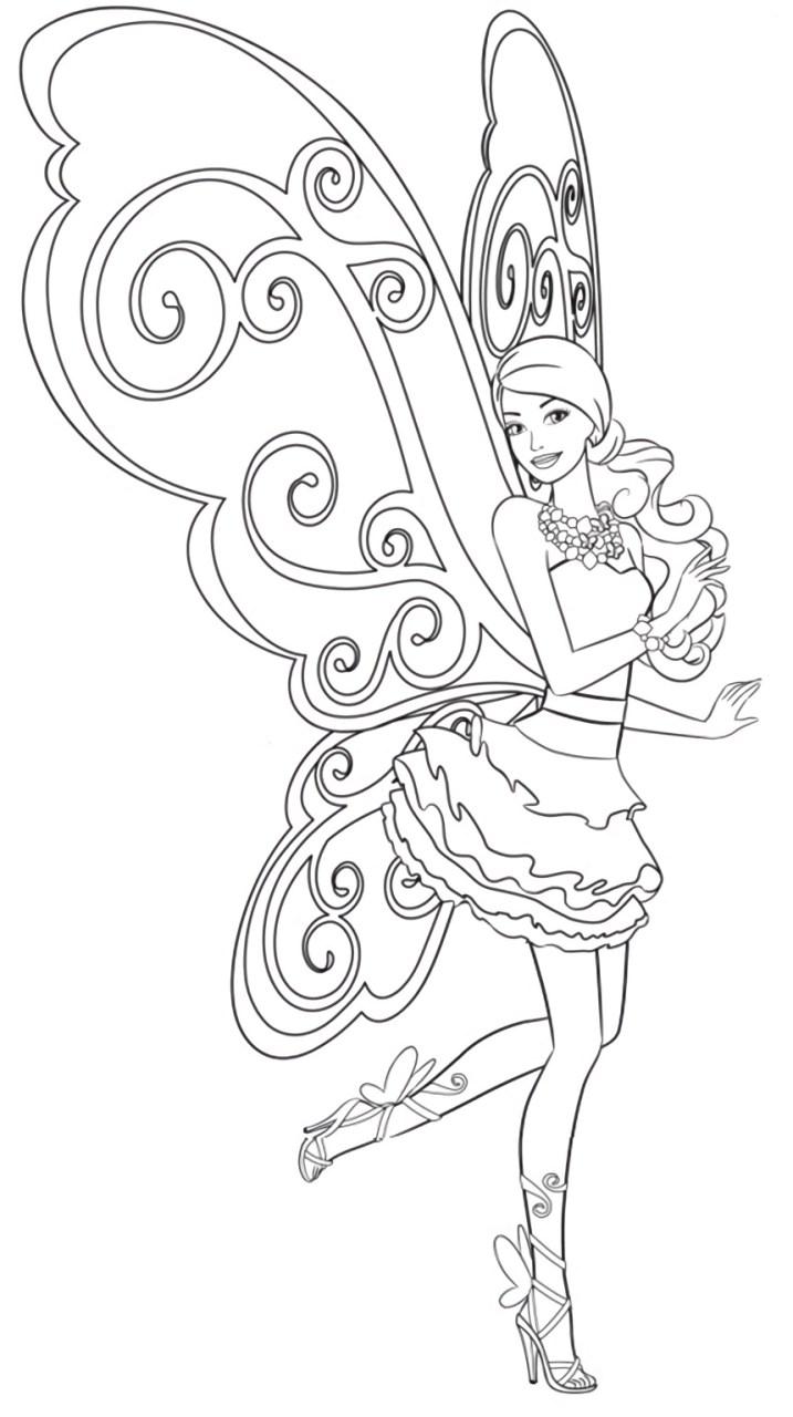 Barbie Fada - Vestido e asas de borboletas - Desenhos pra pintar, colorir, imprimir e preencher - Artes e Lápis de Cor 02