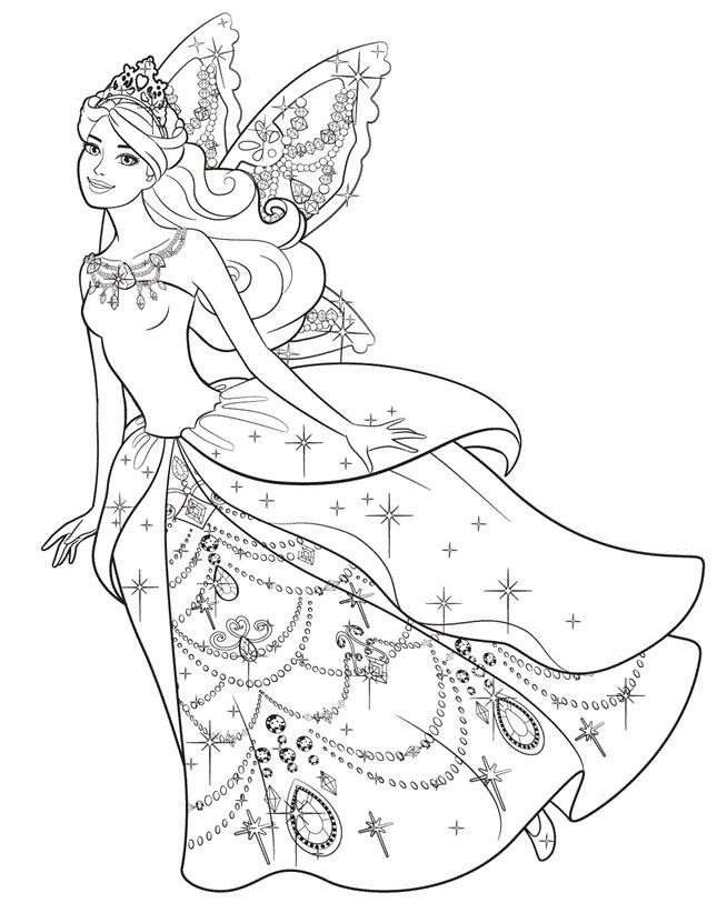 Barbie com vestido de Fada - Desenhos pra pintar, colorir, imprimir e preencher - Artes e Lápis de Cor 04