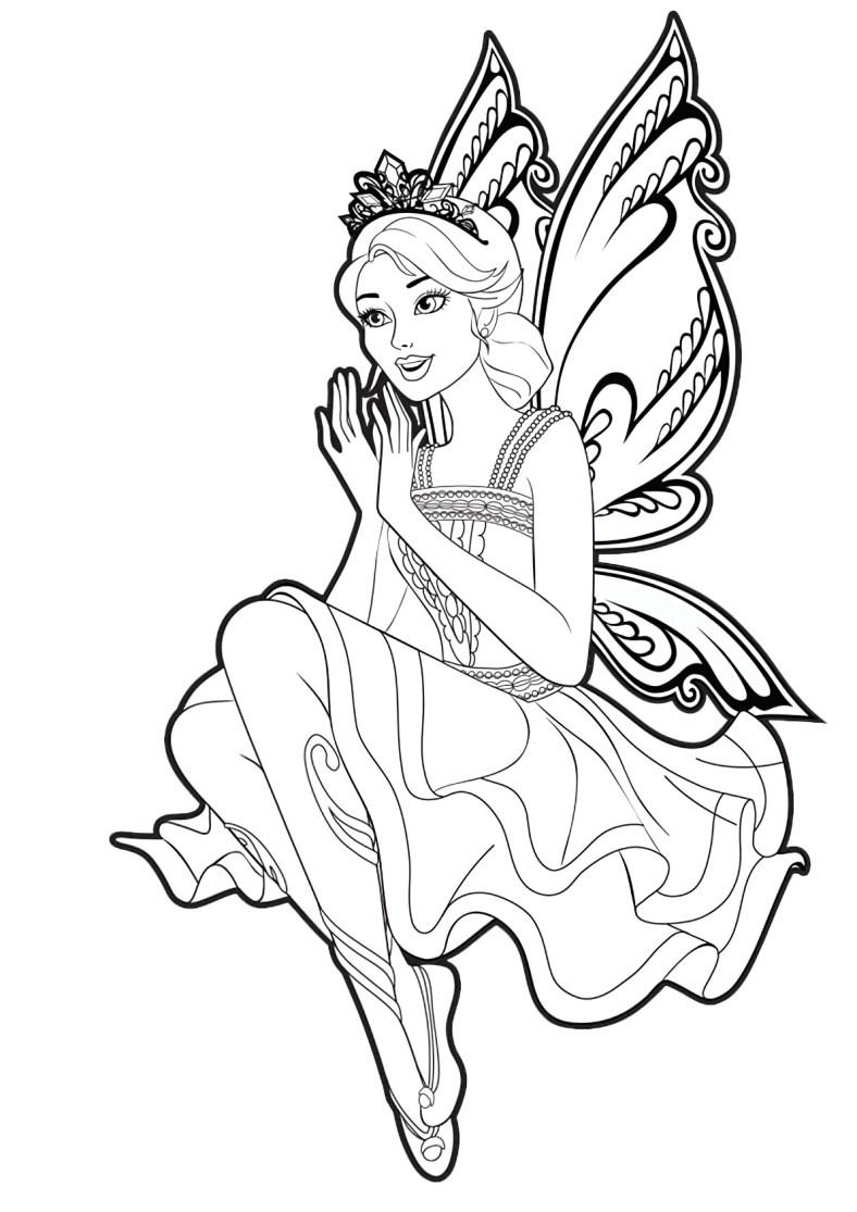 Lindo desenho da Barbie Fada para colorir, pintar e imprimir - Asas de Borboleta e vestido fofo 03