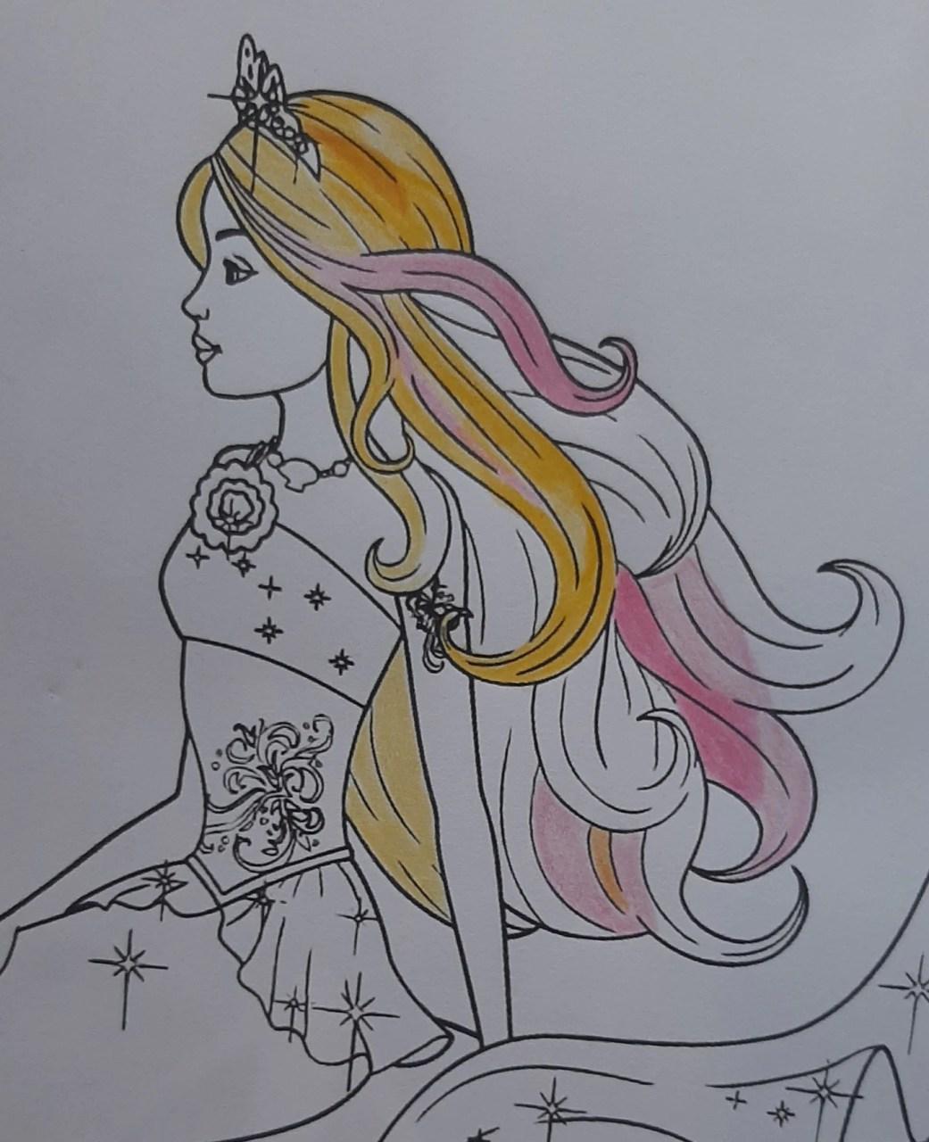Barbie Sereia - Colorindo um desenho com lápis de cor tradicional - Cabelos longos 02