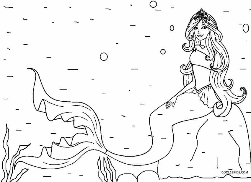 Barbie Sereia - Desenho pra pintar, colorir e imprimir - Mermaid 06 - Infantil