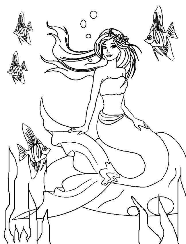 Barbie Sereia - Desenho pra pintar, colorir e imprimir - Mermaid 12