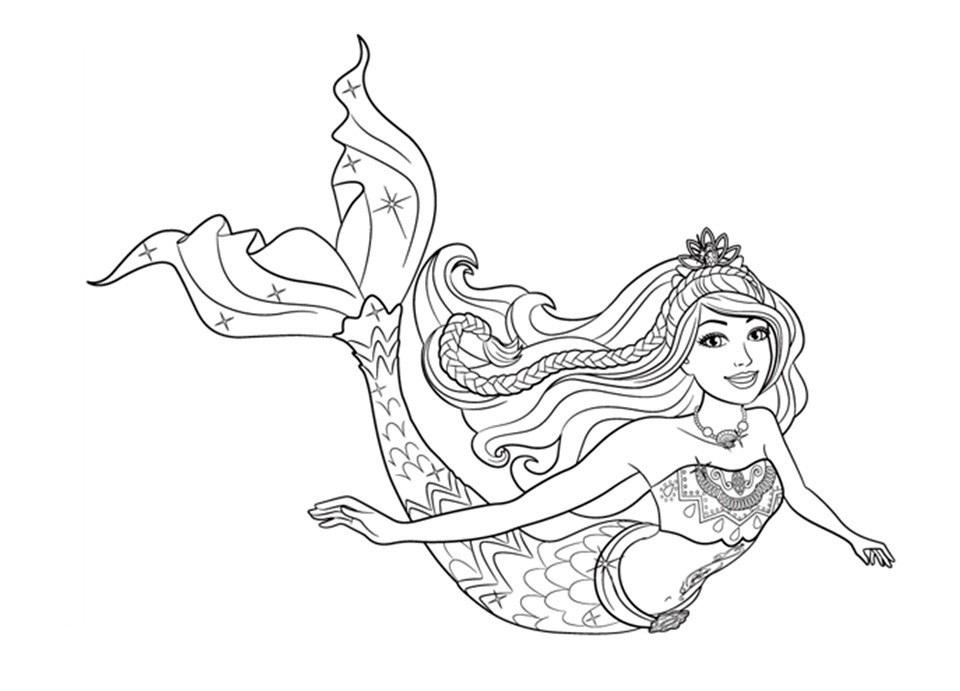 Barbie Sereia - Desenho pra pintar, colorir e imprimir - Mermaid 15
