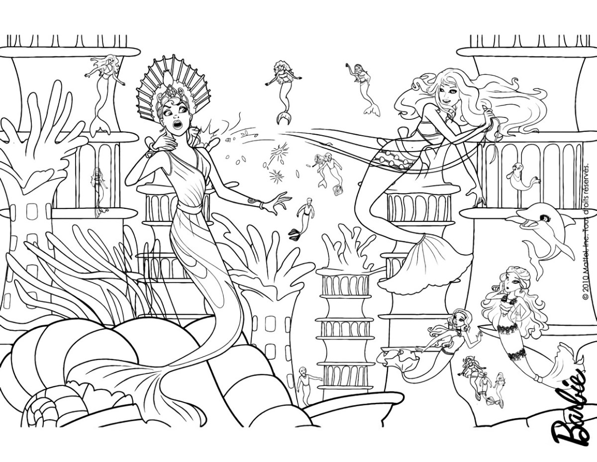 Barbie Sereia - Desenho pra pintar, colorir e imprimir - Mermaid 26