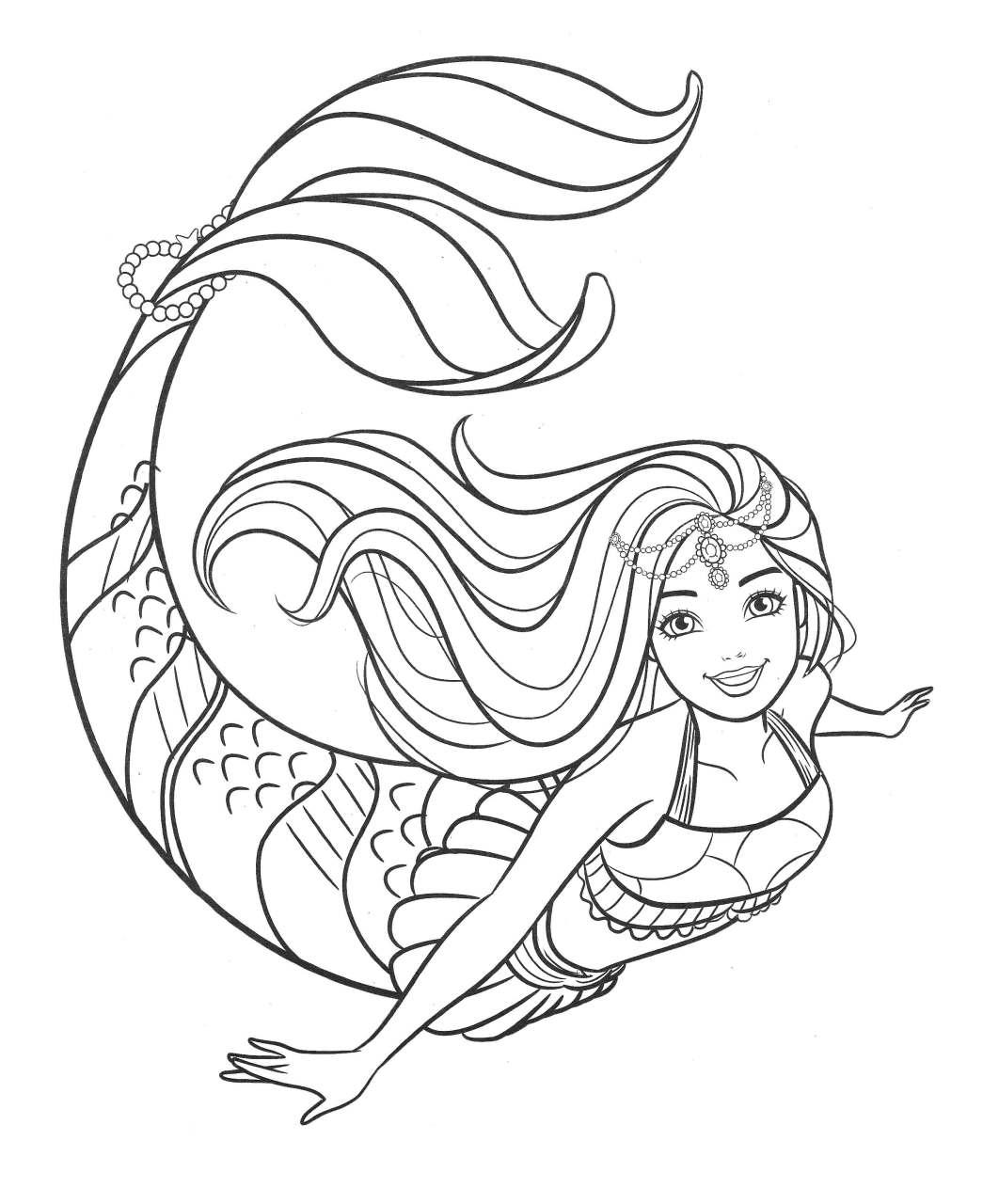 Barbie Sereia - Desenho pra pintar, colorir e imprimir - Mermaid 38