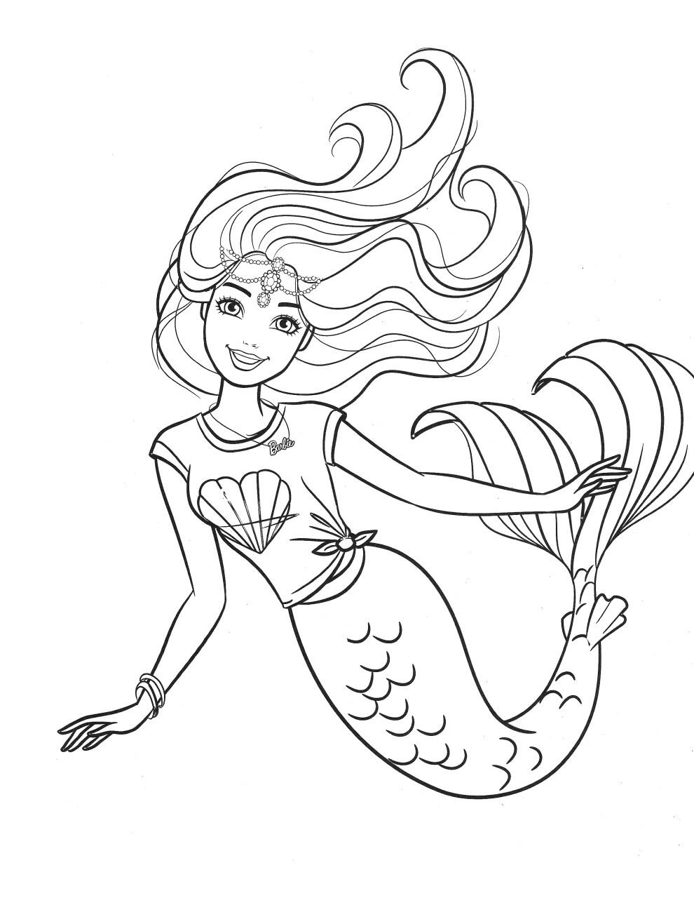 Barbie Sereia - Desenho pra pintar, colorir e imprimir - Mermaid 42