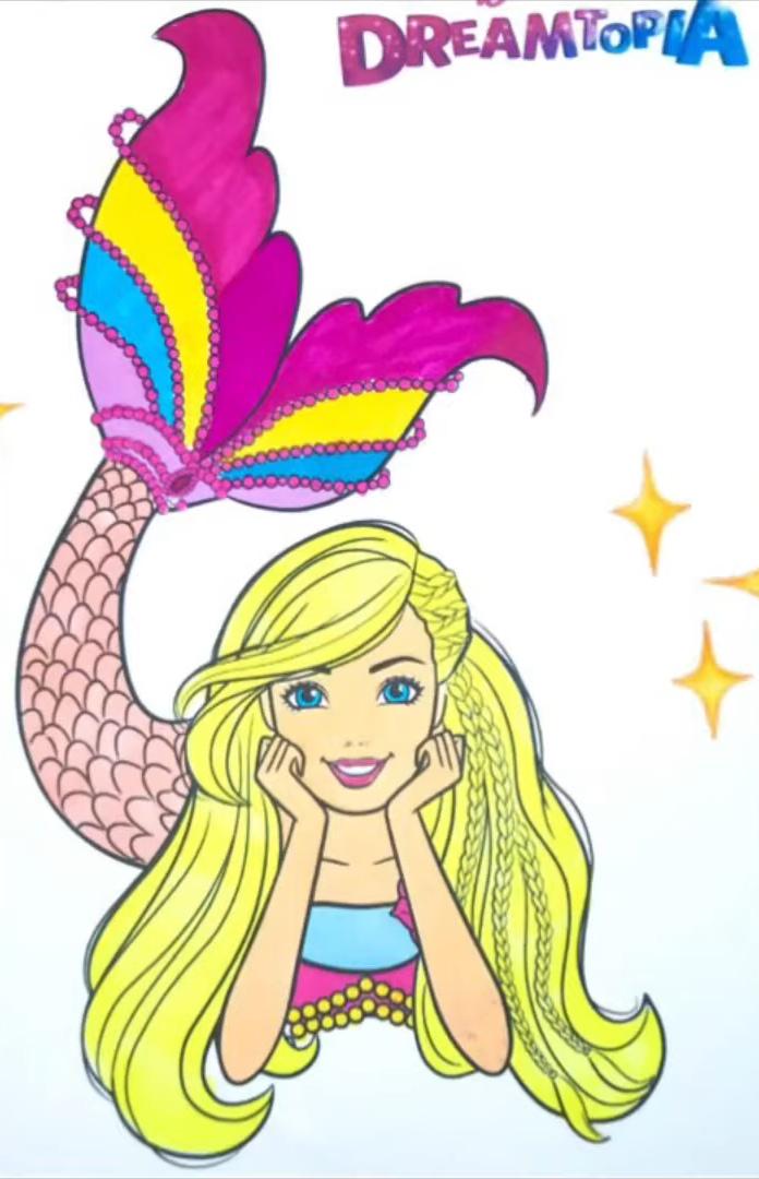 Barbie Sereia Dreamtopia - Versão colorida - Desenho para colorir e imprimir 2