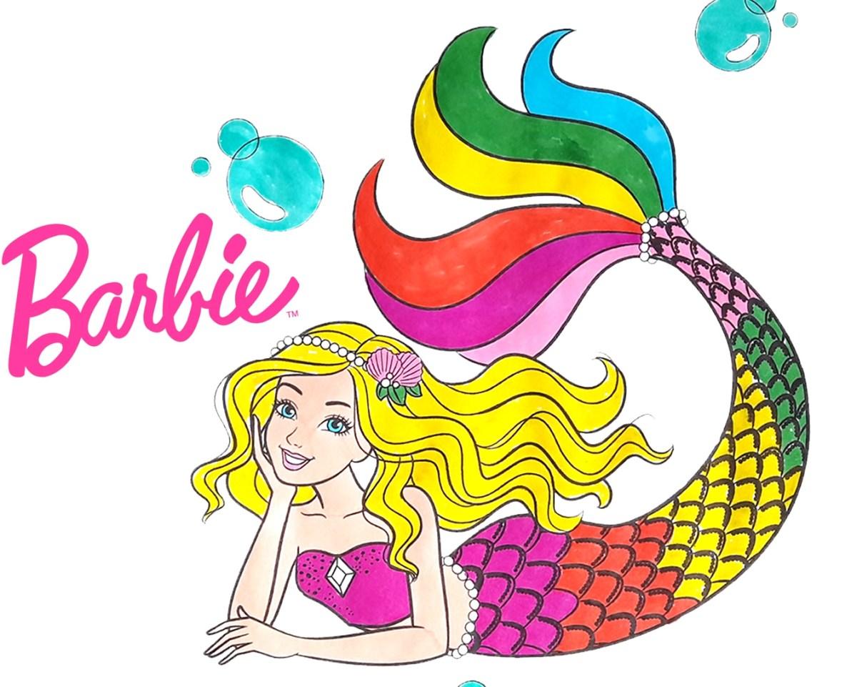Barbie Sereia Dreamtopia - Versão colorida - Desenho para colorir e imprimir