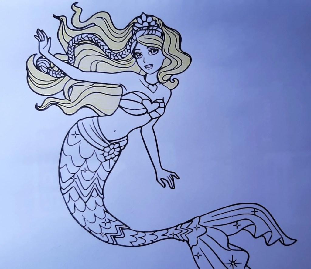Barbie Sereia - Veja como colorir este lindo desenho da sereia, com estilos degradê e fofo - 01