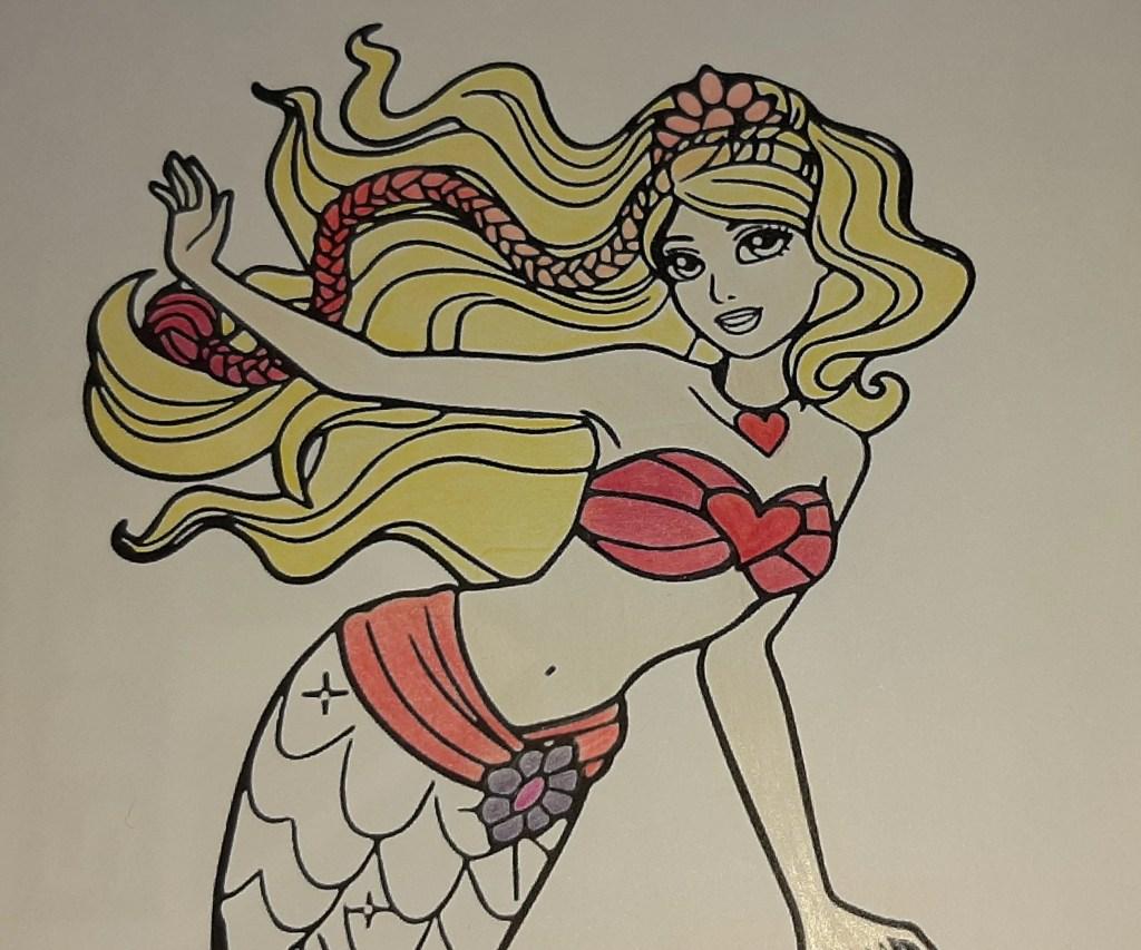 Barbie Sereia - Veja como colorir este lindo desenho da sereia, com estilos degradê e fofo - Kawaii 04