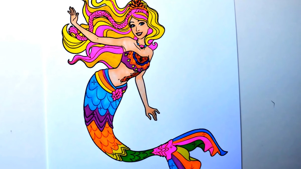 Barbie Sereia para colorir - Versão colorida do desenho - Mermaid Tale Coloring pages - Princesa - Arte para pintar