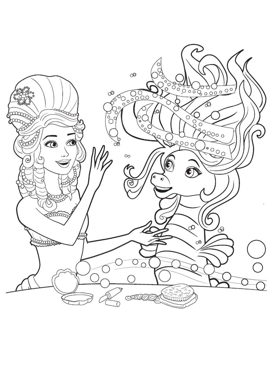 Barbie e a Sereia das Perolas, desenhos para colorir - 1