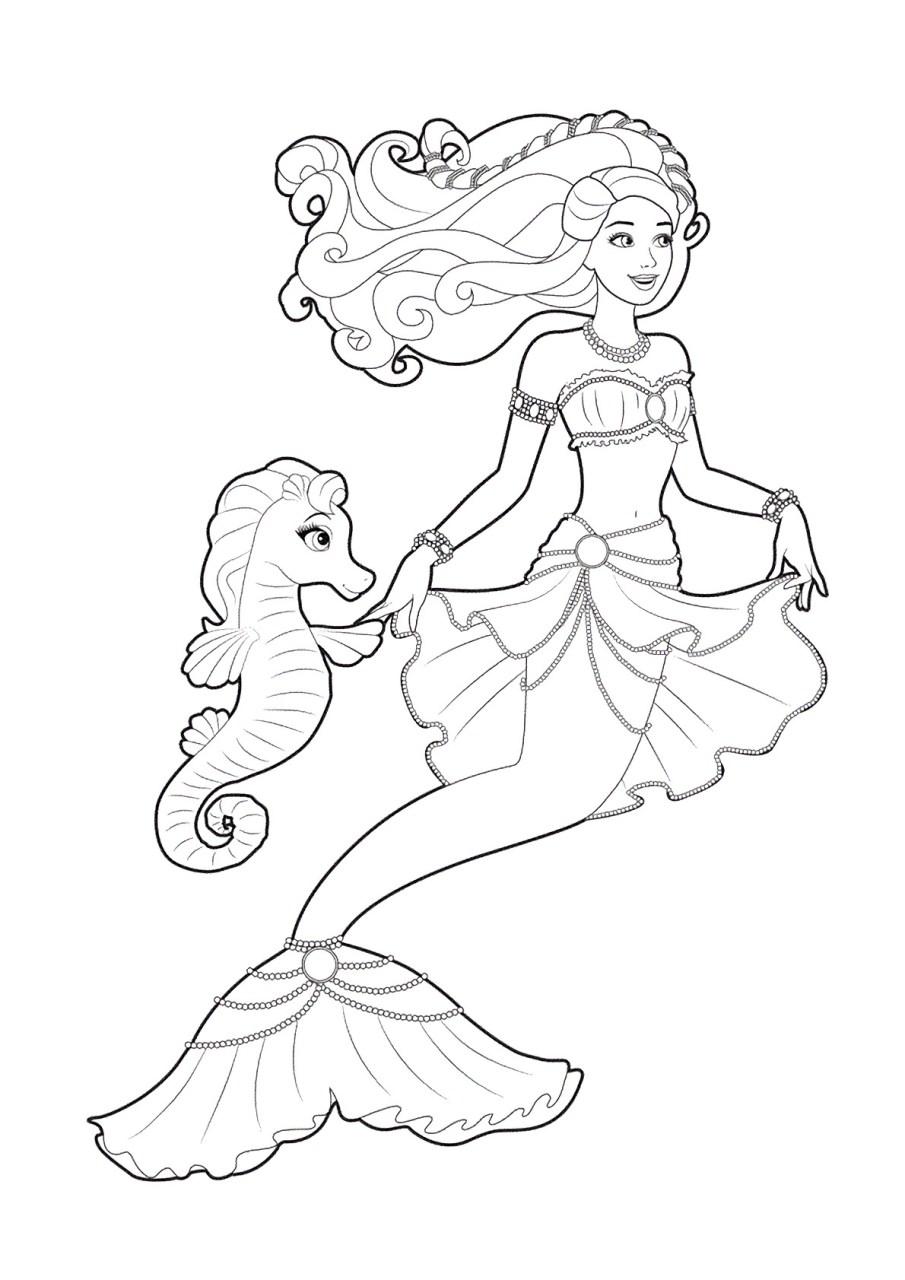 Barbie e a Sereia das Perolas, desenhos para colorir - 7
