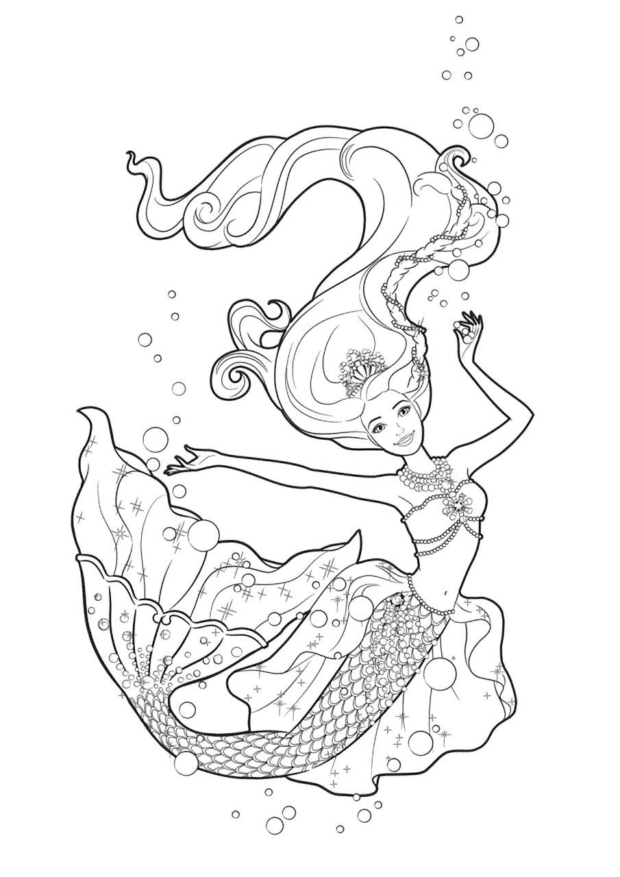 Barbie e a Sereia das Perolas, desenhos para colorir e imprimir - 12