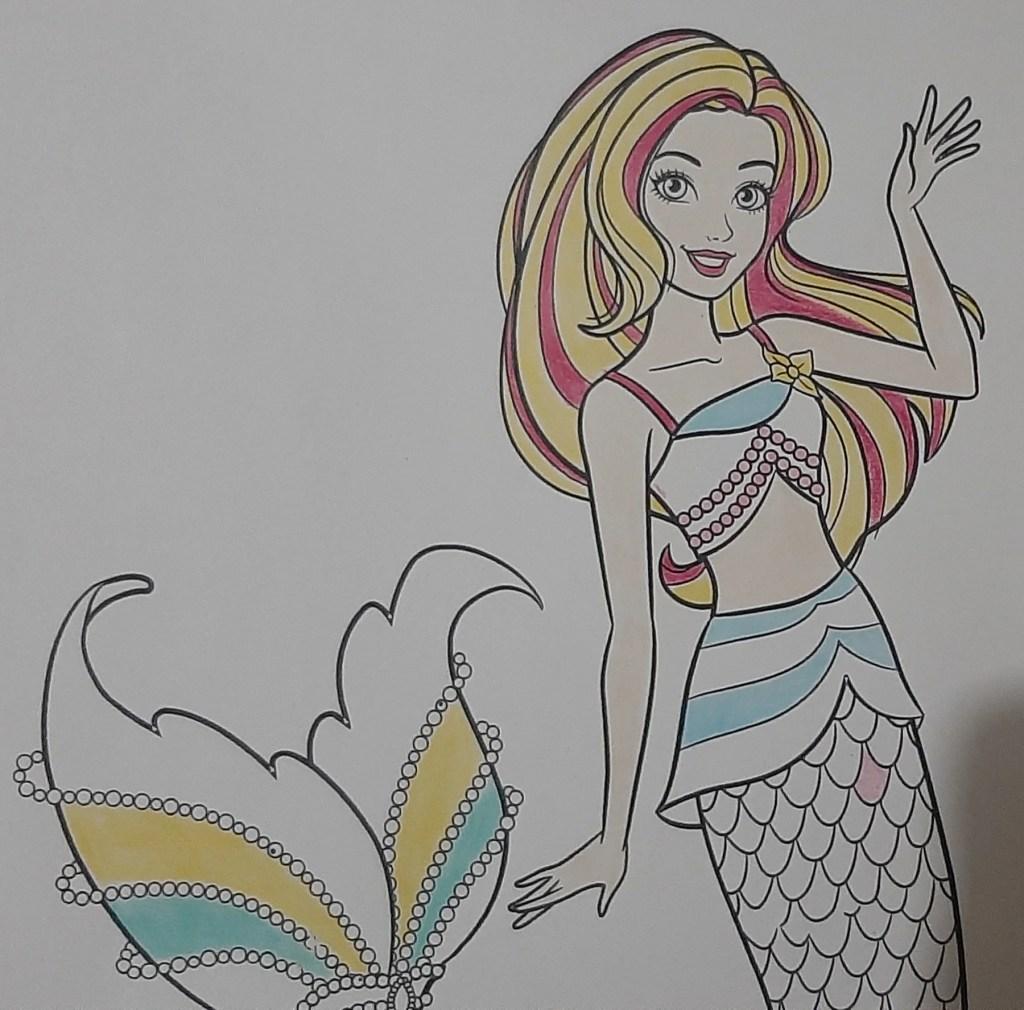 Boneca Barbie Dreamtopia Sereia - Mermaid - Colorindo um lindo desenho da Barbie - Passo a passo com lápis de cor 04