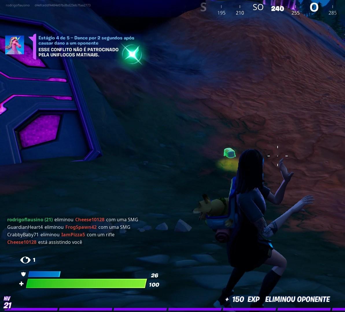 Fortnite - Dançando por 2 segundos após finalizar um oponente em partida solo