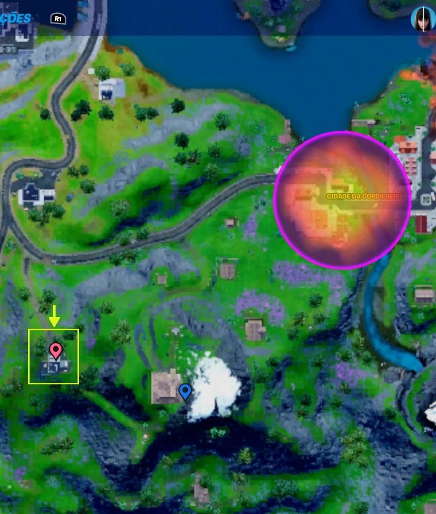 Fortnite - Mapa com a localização de uma das bases da OI