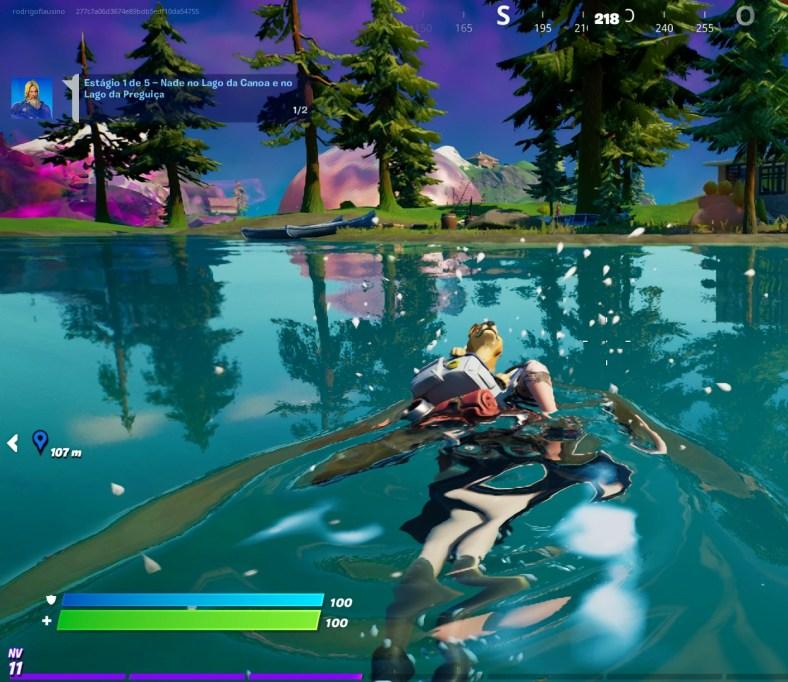 Fortnite - Nadando no Lago da Preguiça