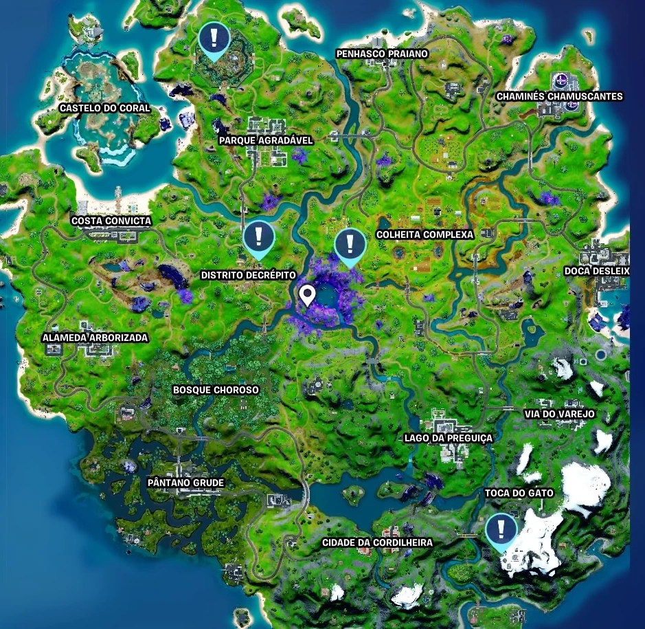 Previsão da Tempestade em Fortnite - Mapa