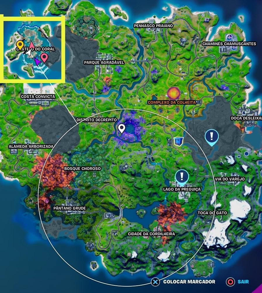 Fortnite - Localização do Castelo do Coral