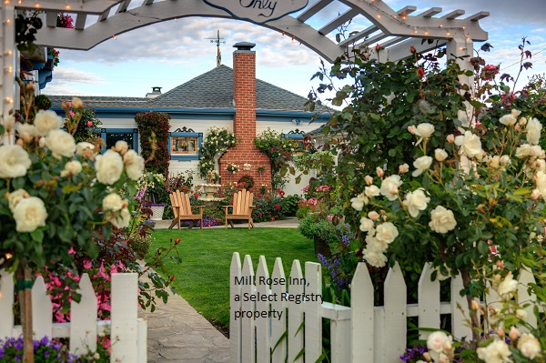 Beautiful flowered arch and picket fence leading into the mill rose inn
