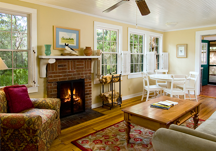Michael Cottage Living Room.  The Lodge at Little St. Simons Island, GA.