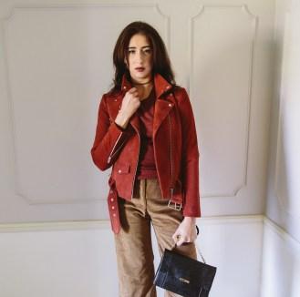 Veda suede jacket. Quinn cashmere sweater. Veda corduroy pants. Ted Baker handbag.