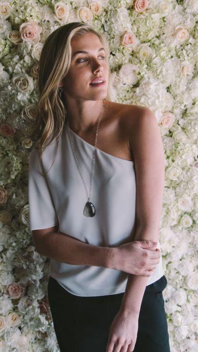 Tibi one-shoulder top. Piedras Designs necklace.