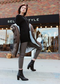 Mijeong Park puffer, Vince boatneck tunic, ecru leather leggings, Piedras Designs necklace.