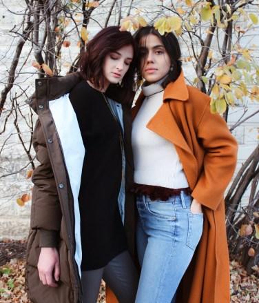 (L) Mijeong Park puffer, Vince boatneck tunic, ecru leather leggings, Piedras Designs necklace. (R) Mijeong Park handmade coat, Maison Père sweater, Frame denim, Lizzie Fortunato earrings.