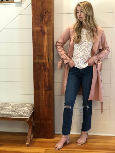 Part Two Trench Coat and Lace Top, M.i.h Jeans