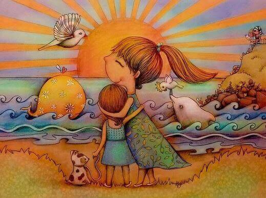 Madre-abrazando-a-su-hija-en-la-playa-al-atardecer