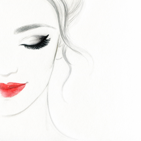 口角を上げている女性のイラスト