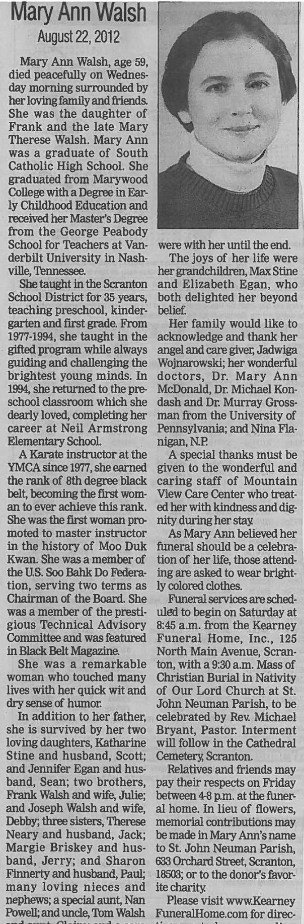 Mary Ann Walsh Obituary