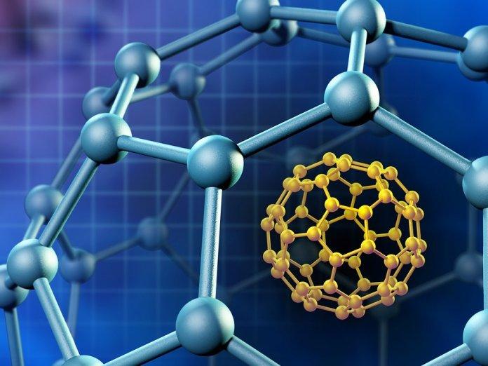Spherical fullerene molecule. 3D illustration.