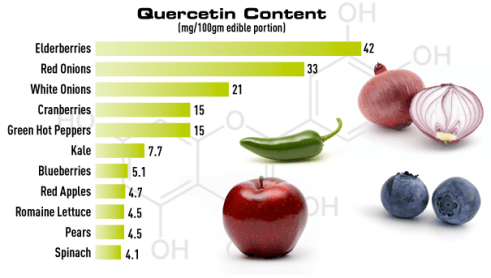 allergy product quercetin can be found in these foods