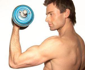 man pumping iron
