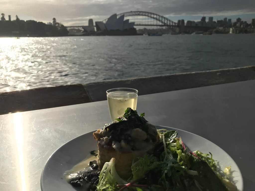 Pre-opera meal with view of Sydney Harbor before the start of La Boheme at Handa Opera