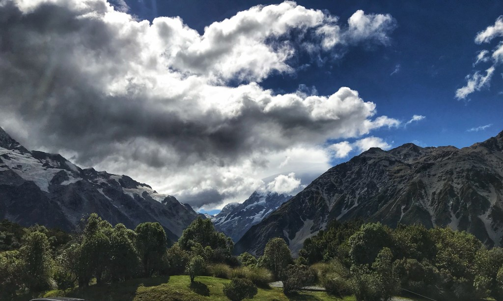 Mt Cook's peak hidden by the constant clouds