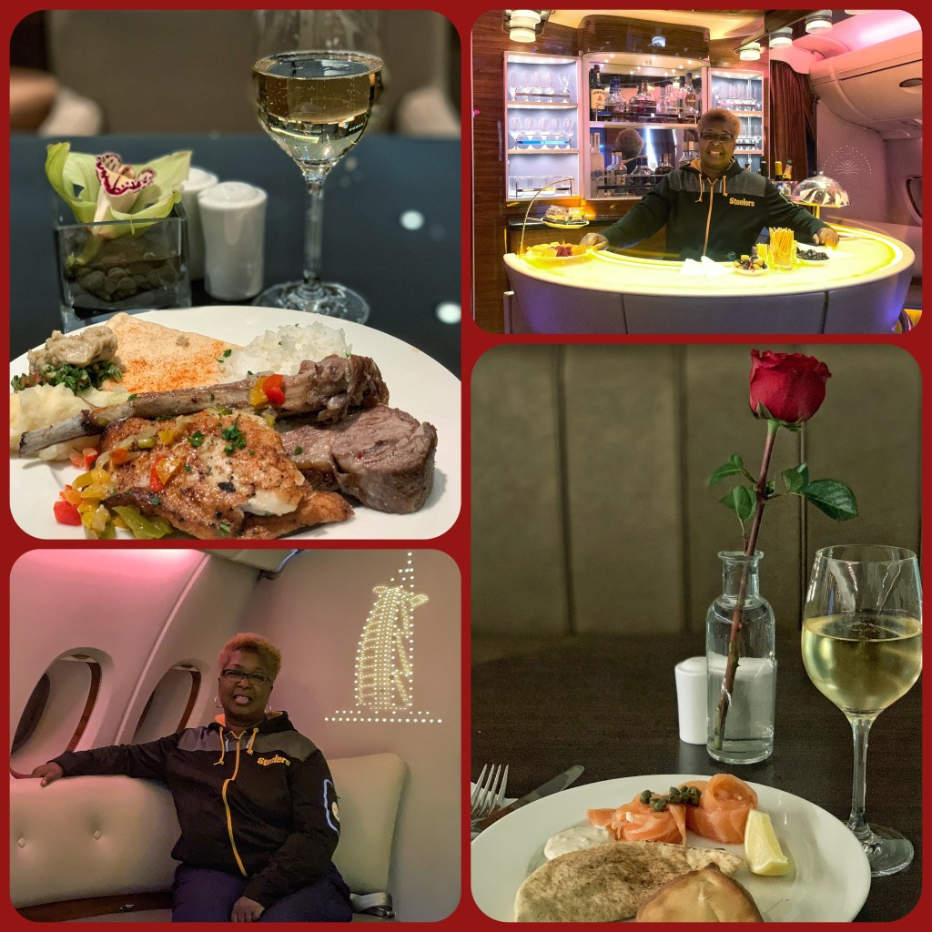 Pictures of my delicious meals at Emirates Lounges in JFK and Dubai and having the Bar in the Sky all to myself