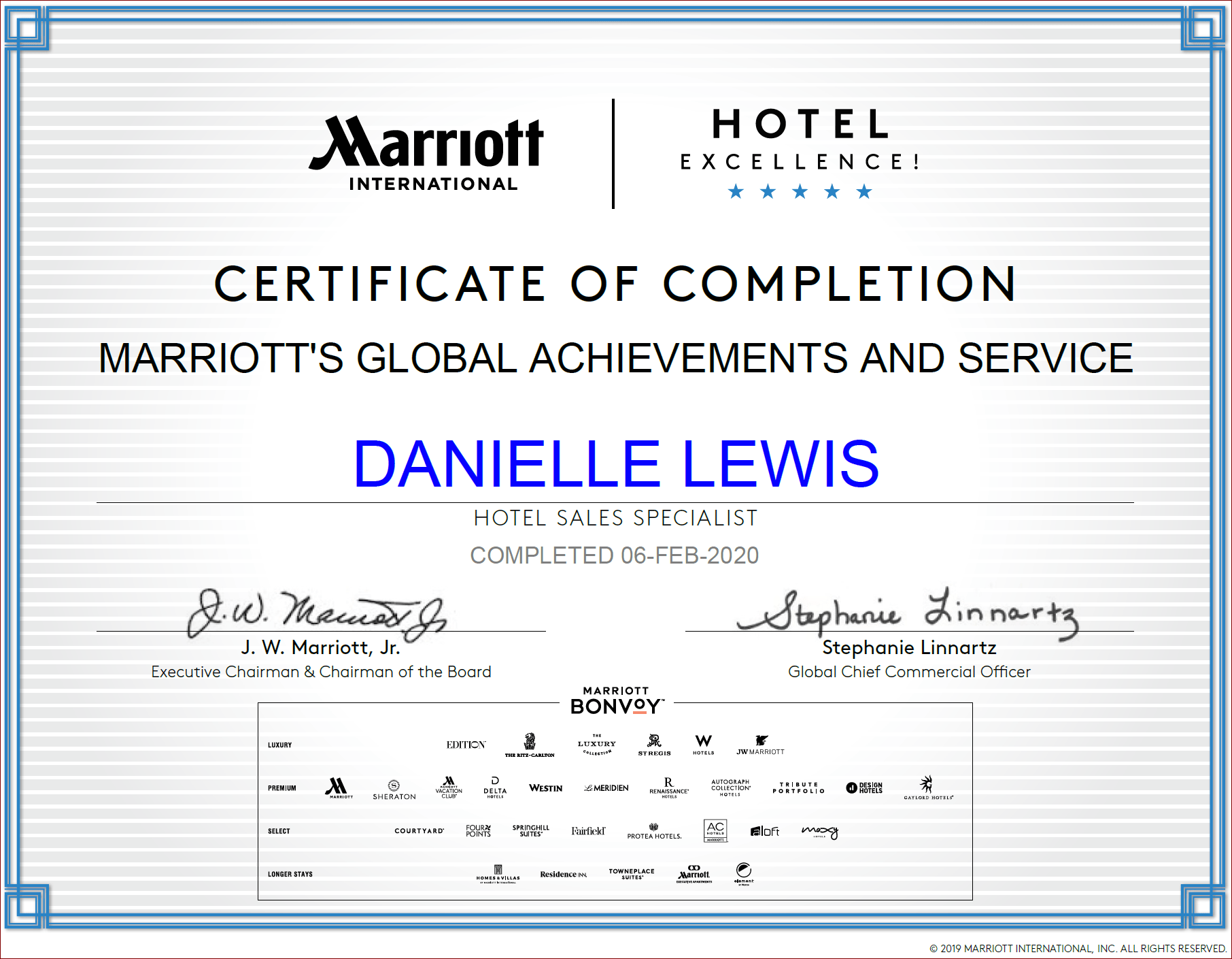 SelfishMe Travel - Marriott International Global Achievements and Service Certificate
