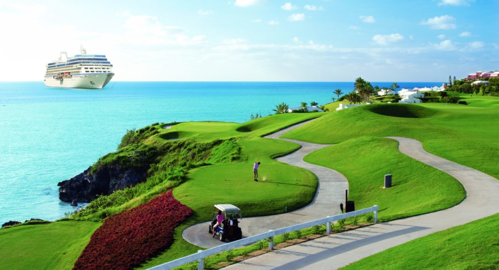 golf course with cruise ship on SelfishMe Travel