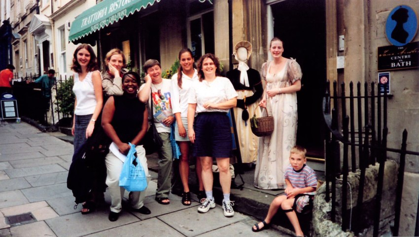 DaniLew with old and new friends at the Jane Austen Center in Bath England on the Slow Traveling Soul Sister blog
